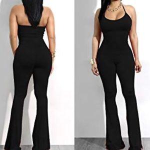 ade4eb86f7f8 Pants - Black bell bottom jumpsuit romper jumper one piece
